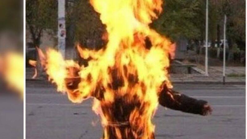 Neighbors burn woman alive!