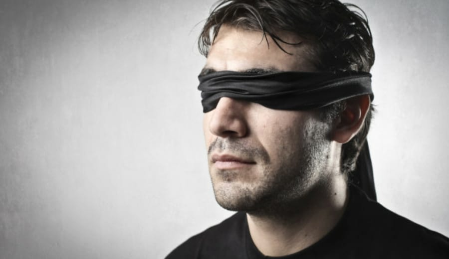 Why not a blindfold for men instead of a veil for women?
